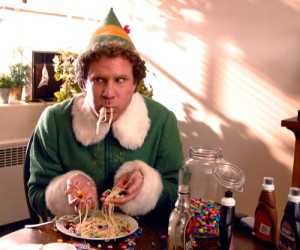 elf eating spaghetti